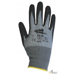 Gants anti-coupure en polyuréthane gris - norme EN 388 4542