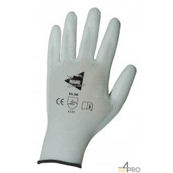 Gants de protection de précision - manutention fine - polyuréthane blanc sur support nylon blanc - norme EN 388 4131
