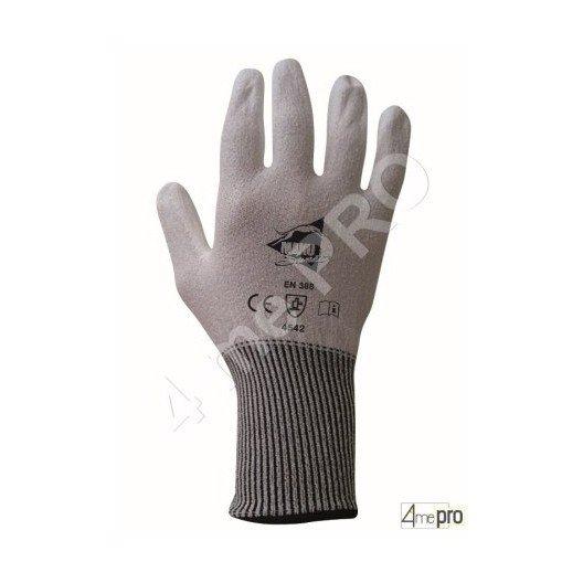 Gants anti-coupure  de protection - PU blanc sur support composite blanc - norme EN 388 4542