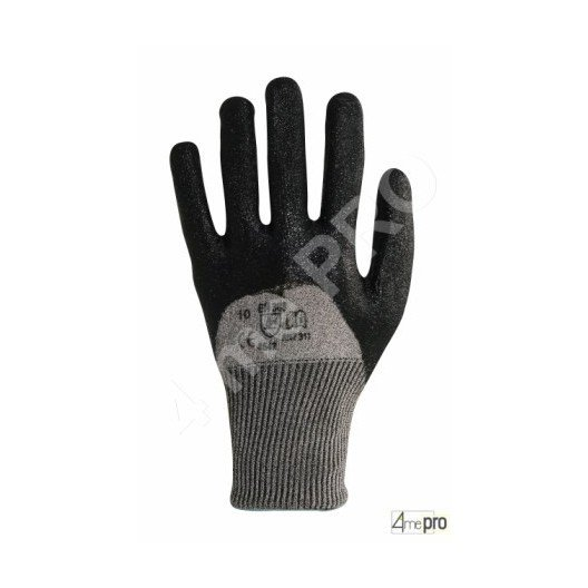 Gants anti-coupure de protection enduction nitrile noir sur dos - norme EN 388 4542