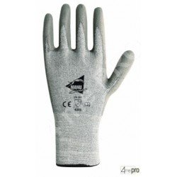 Gants anti-coupure de protection - PU gris sur support composite gris - norme EN 388