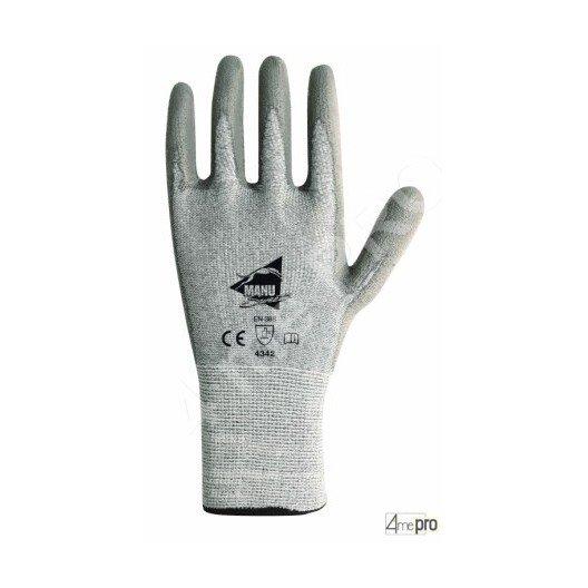 Gants anti-coupure de protection - PU gris sur support composite gris - norme EN 388