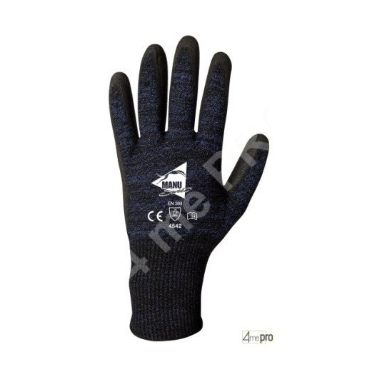 Gants anti-coupure - enduction PU anthracite et support ultra souple - norme EN 388