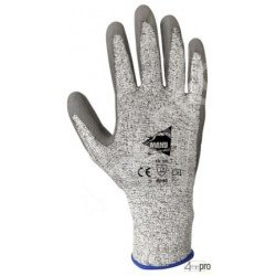 Gants anti-coupure antidérapants - enduction PU gris ET support HPPE gris - norme EN 388