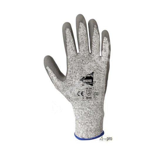 Gants anti-coupure antidérapants - enduction PU gris ET support HPPE gris - norme EN 388