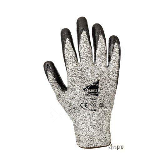 Gants anti-coupure avec enduction nitrile noir et support HPPE gris - norme EN 388 4343