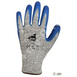 Gants anti-coupure antidérapants - enduction latex bleu et support HPPE gris - norme EN 388