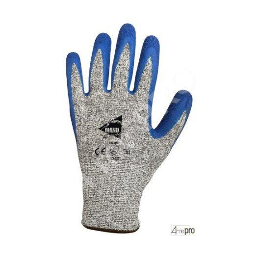 Gants anti-coupure antidérapants - enduction latex bleu et support HPPE gris - norme EN 388