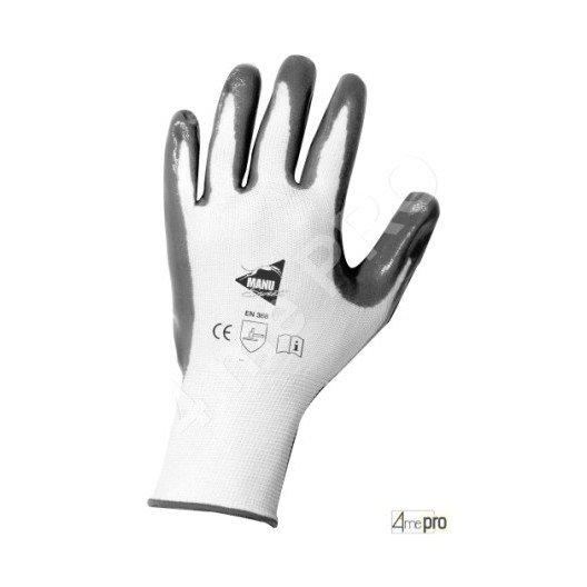 Gants de manutention - nitrile gris sur support nylon blanc - norme EN 388 3121
