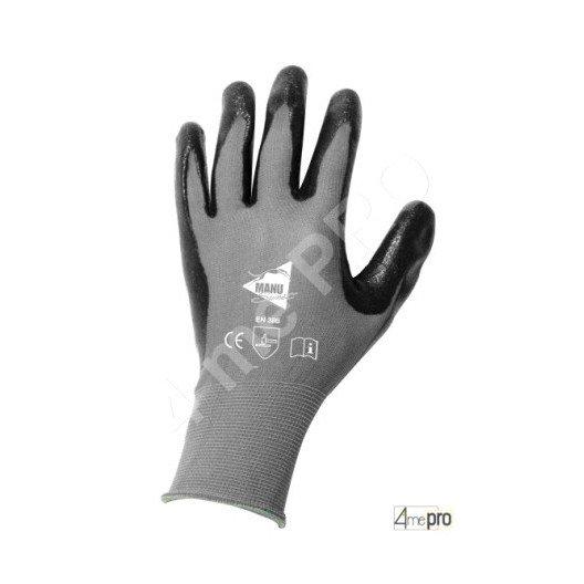 Gants de manutention - nitrile gris sur support nylon noir - norme EN 388 3121