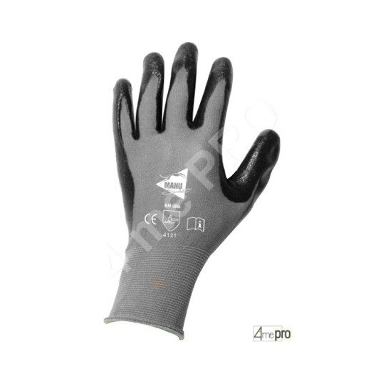 Gants de manutention - nitrile mousse noir sur support nylon noir - norme EN 388 4121