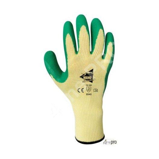 Gants de manutention - latex vert sur support polycoton jaune - norme EN 388 2243