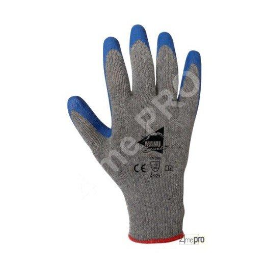 Gants de manutention - latex bleu sur support polycoton gris recyclé - norme EN 388 2121
