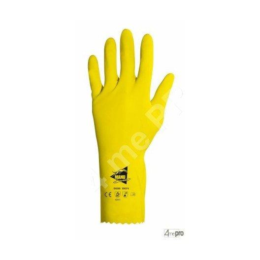 Gants de protection chimique 32 cm - latex flocké coton - normes EN 388/EN 374