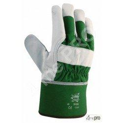 Gants de protection cuir de bovin type docker - dos coton toile + retour cuir - norme EN 388