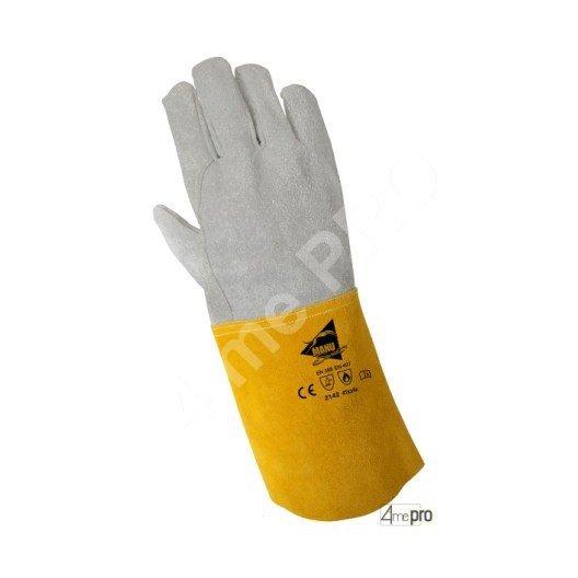 Gants de soudeur de protection thermique - cuir bovin tout croûte cousu kevlar - normes EN 388/EN 407