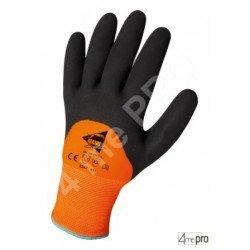 Gants de protection thermique intérieur molleton - latex sur polyamide fluo dos 3/4 - normes EN 388/EN 511