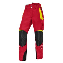 Pantalon anti-coupure Forest rouge et jaune