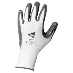Gants de manutention - nitrile gris sur support nylon blanc - norme EN 388 3121