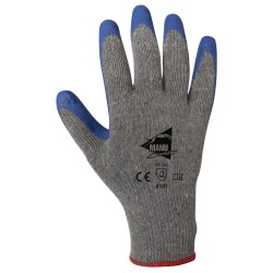Gants de manutention - latex bleu sur support polycoton gris recyclé - norme EN 388 2121
