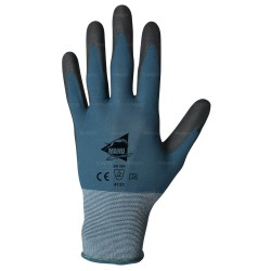 Gants de manutention fine - polyuréthane noir sur support nylon bleu - norme EN 388 4131