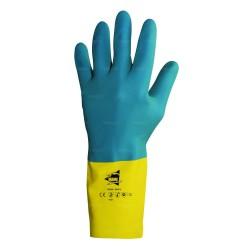 Gants de protection chimique 32 cm - latex et néoprène flocké coton - normes EN 388/EN 374