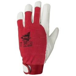 Gants de protection en cuir de chèvre avec dos coton - serrage velcro - norme EN 388