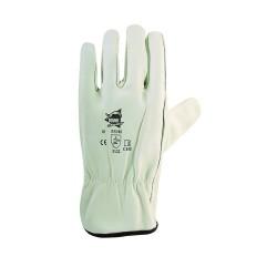 Gants de protection BTP en cuir de bovin blanc avec élastique de serrage - norme EN 388 3122